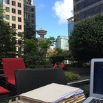 Working outside by the Pool
