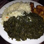 sauteed spinach with rice and fried plantains