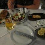 Greek Salad, Fried Cheese, Tzatziki and Bread