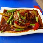 barracuda with french beans in soy sauce. so good