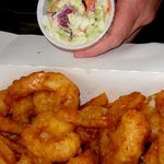 giant prawns and cole slaw