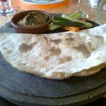 Hummus and flatbread with crudites