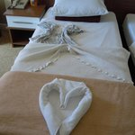 Prettily made up beds
