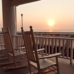Hotel front porch sunrise view