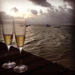 Champs at the Maradiva jetty at sunset. Now this is what you call a sundowner!