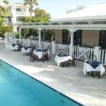 Lovely pool side terrace dining available