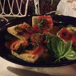 Dinner - Bruschetta with fresh garlic, basil and tomatoes from the garden