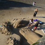 sand sculpture on the beach near the Oxo tower