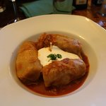 Cabbage stuffed with minced meat and sour cream