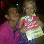 Miguel presented our wee Aimee aka bubbles with her certificate x