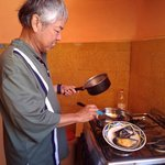 Cooking at the hostal's kitchen