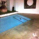 Long narrow modern pool in garden - play area for kids