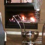 Warm welcoming bar & fireplace