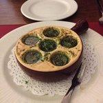 Snails starter in a garlicky sauce!!