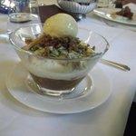 Rhubarb Fool, Pistachios, Vanilla Ice Cream