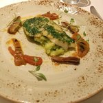 Fillet of Cornish Whiting with Crushed Courgettes, Tropea Onions and Sweet and Sour Peppers