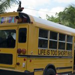 """The """"Life is Too Short"""" shuttle bus"""