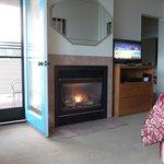 close up of door, fireplace and tv/dresser
