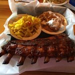 Ribs with sweet potato casserole and vinegar slaw