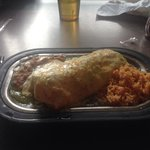 Green chile pork carnitas burrito