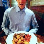 My fiancé enjoying steak and chips! The steak was amazing! Melted in your mouth, beautiful!