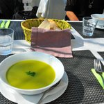 broccoli soup, the first in a three-course lunch
