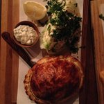Mulloway fish pasty with sauce tartare and iceberg lettuce