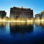 Bellagio Fountains as Dusk Through a Fisheye Lens