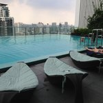A quiet rooftop infinity pool which offers a nice view to the area
