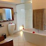 Banheiro espaçoso e bem decorado