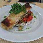 Filet de rouget en croûte ptits légumes et risotto