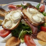 goats cheese and cured meat salad