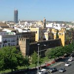 View from the rooftop over Seville's city walls