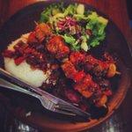 tofu vegetable skewers with barbecue sauce