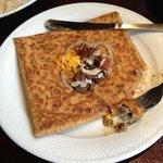 Mushroom, cheddar, and ratatouille buckwheat crepe