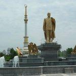 with Mr. Niyazov statue