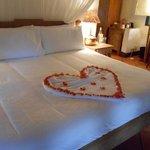 Beautiful honeymoon bed decoration