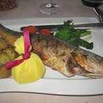 Bacci Restaurant on the grounds, Bronzini whole fish