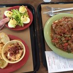 """Deviled eggs, meatloaf dinner plate and the pimento cheese """"nibbler"""" plate"""