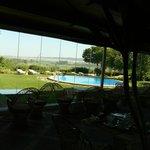 Vue sur la piscine depuis l'espace petit déjeuner