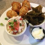 Great size portions of crab, greens & hush puppies