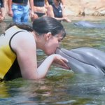 Kissing a dolphin.