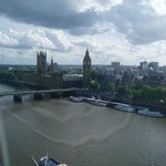 View from the zenith of the wheel.  Houses of Parliament etc