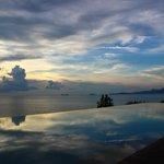 Resort pool at sunset