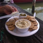 Smoked fish dip with jalapeños and Cholula Hot Sauce at Bonita Bills! Yummy! Put it on the menu!