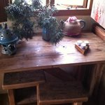 Table and decorations in Hut