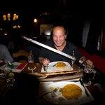 My shish kabob atop a sword
