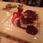 Tiramisu, the picture in the plate is chocolate and sauce