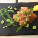 Marinated salmon with orange peel