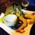 Calamari and fried prawns